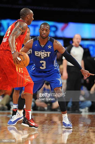 Dwyane Wade of the Eastern Conference AllStars plays defense against Kobe Bryant of the Western Conference AllStars in the 2011 NBA AllStar Game at...