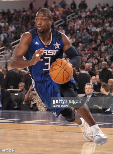 Dwyane Wade of the Eastern Conference drives against the Western Conference during the NBA AllStar Game as part of the 2010 NBA AllStar Weekend at...