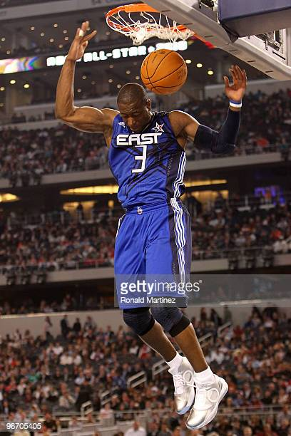 Dwyane Wade of the Eastern Conference dunks against the Western Conference during the fourth quarter of the NBA AllStar Game part of 2010 NBA AllStar...