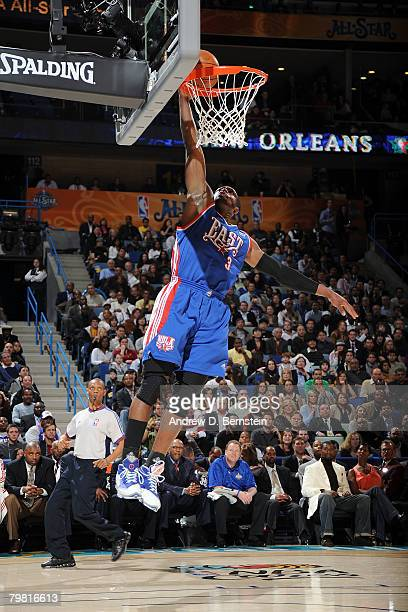 Dwyane Wade of the Eastern Conference dunks the ball during the 2008 NBA AllStar Game part of 2008 NBA AllStar Weekend at the New Orleans Arena on...