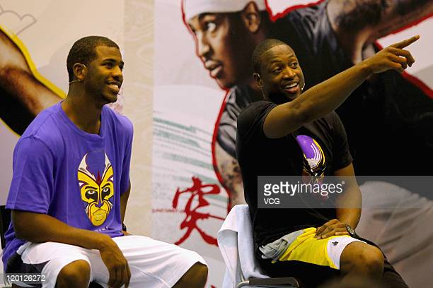 Dwyane Wade of the Miami Heat and Chris Paul of the New Orleans Hornets attend NIKE commercial event on July 30, 2011 in Hangzhou, Zhejiang Province...