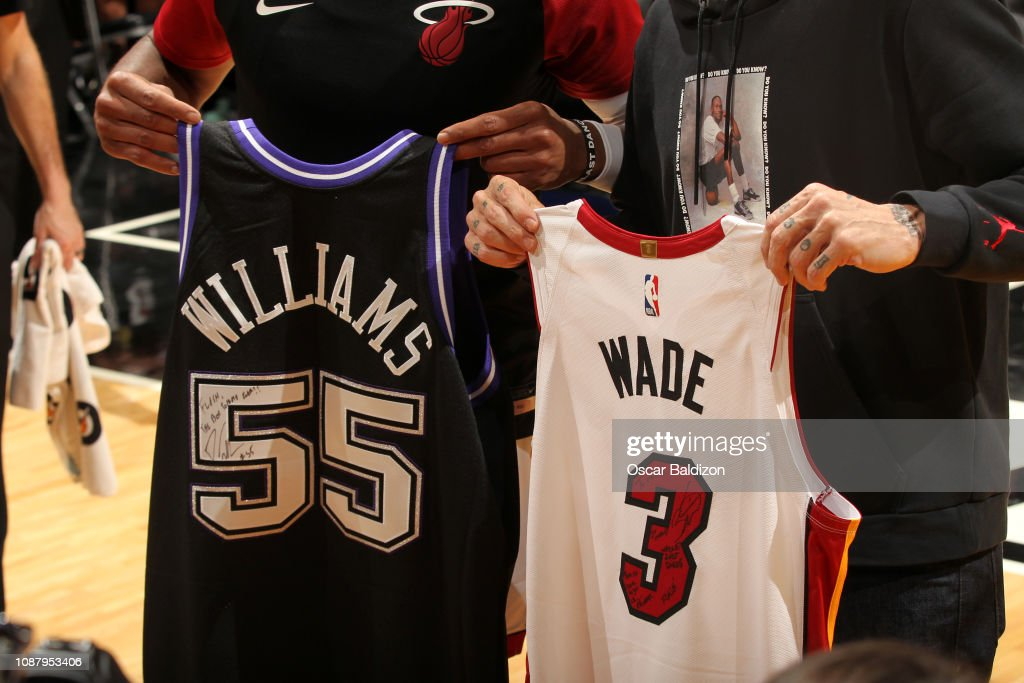 sports shoes 8d49e c7fec Dwyane Wade of the Miami Heat and former NBA player Jason ...