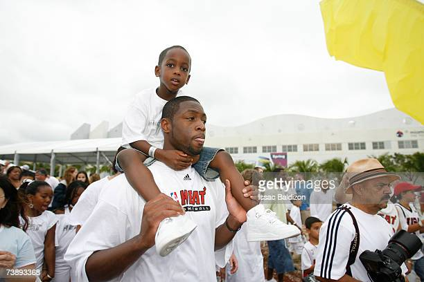 Dwyane Wade of the Miami Heat and his son attend the 2007 Family Festival on April 15 2007 at Watson Island in Miami Florida NOTE TO USER User...