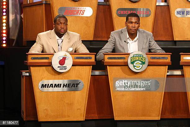 Dwyane Wade of the Miami Heat and Kevin Durant of the Seattle SuperSonics attend the 2008 NBA Draft Lottery at the NBATV Studios May 20 2008 in...