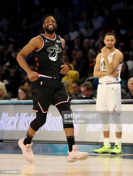 Dwyane Wade of the Miami Heat and Team LeBron runs downcourt against Team Giannis in the first quarter during the NBA AllStar game as part of the...