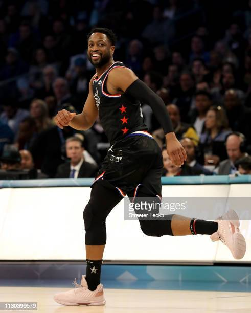Dwyane Wade of the Miami Heat and Team LeBron runs downcourt against Team Giannis in the first quarter during the NBA All-Star game as part of the...