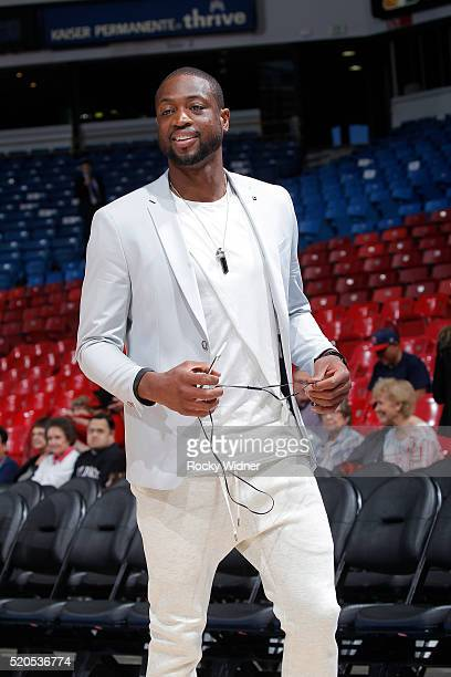 Dwyane Wade of the Miami Heat arrives to the arena prior to the game against the Sacramento Kings on April 1 2016 at Sleep Train Arena in Sacramento...