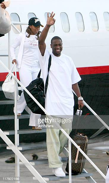MVP Dwyane Wade of the Miami Heat arriving in Miami after winning the NBA Championship game the Heat beat the Dallas Mavericks 9592 in Game 6 of the...