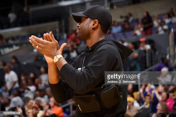 Dwayne Wade of the Miami Heat attends the game between the Minnesota Lynx and the Los Angeles Sparks on August 2 2018 at STAPLES Center in Los...
