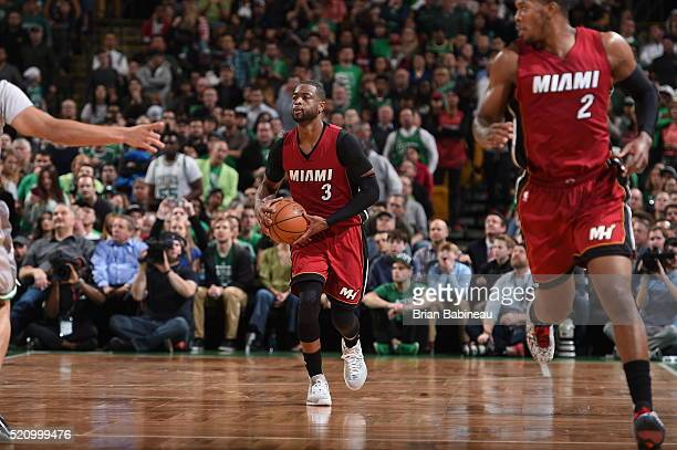 Dwyane Wade of the Miami Heat brings the ball up court against the Boston Celtics n April 13 2016 at the TD Garden in Boston Massachusetts NOTE TO...