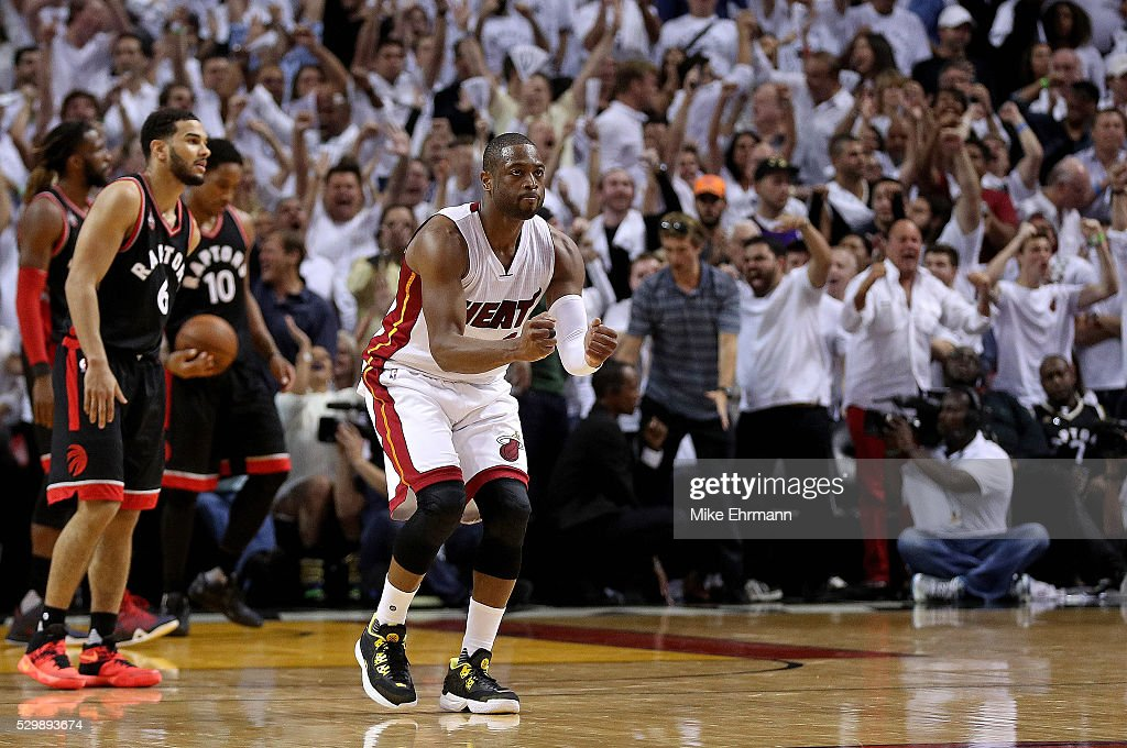 Dwyane Wade #3 of the Miami Heat celebrates winning Game 4 of the Eastern Conference Semifinals of the 2016 NBA Playoffs against the Toronto Raptors at American Airlines Arena on May 9, 2016 in Miami, Florida.