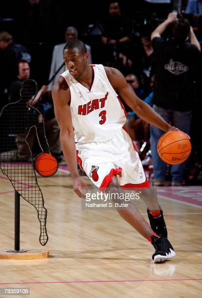 Dwyane Wade of the Miami Heat competes in the PlayStation Skills Challenge at NBA AllStar Weekend on February 17 2007 at the Thomas Mack Center in...
