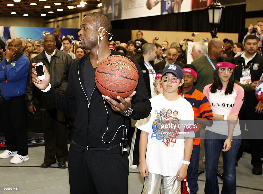 Dwyane Wade of the Miami Heat does a clinic during a