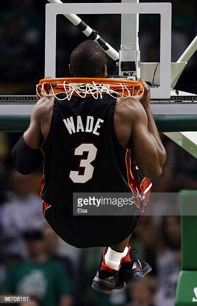 Dwyane Wade of the Miami Heat does his pullups before opening tipoff against the Boston Celtics during Game Five of the Eastern Conference...