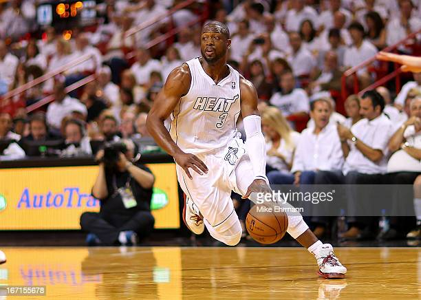 Dwyane Wade of the Miami Heat dribbles during Game 1 of the Eastern Conference Quarterfinals of the 2013 NBA Playoffs at against the Milwaukee Bucks...