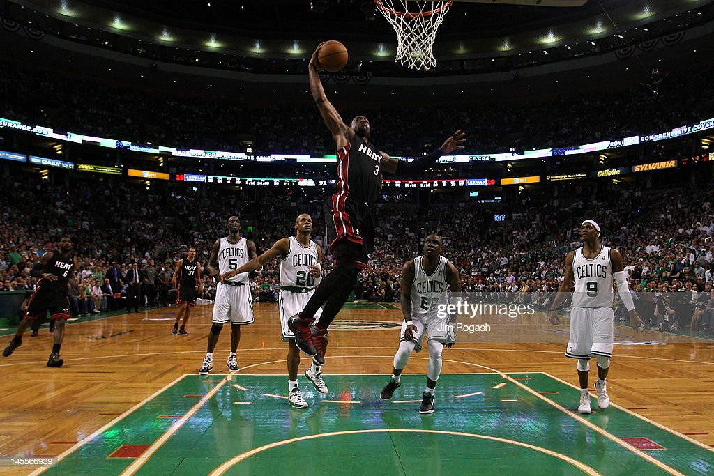 Dwyane Wade #3 of the Miami Heat drives for a dunk attempt in the second half in Game Three of the Eastern Conference Finals in the 2012 NBA Playoffs on June 1, 2012 at TD Garden in Boston, Massachusetts.