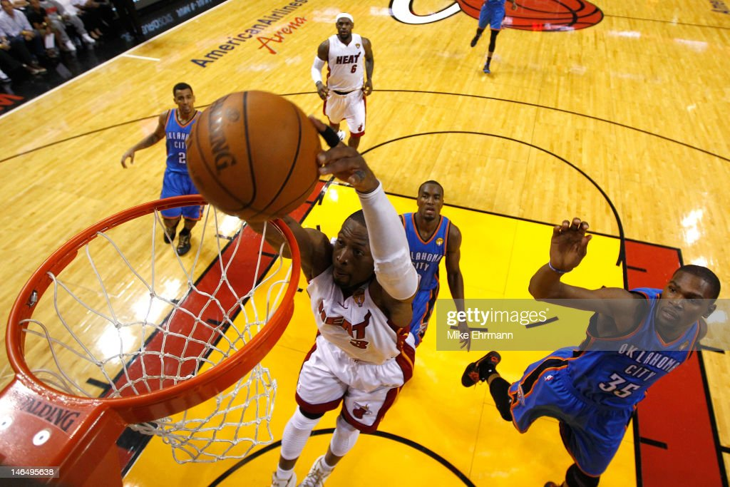 Dwyane Wade #3 of the Miami Heat drives for a dunk attempt in the second half against the Oklahoma City Thunder in Game Three of the 2012 NBA Finals on June 17, 2012 at American Airlines Arena in Miami, Florida.