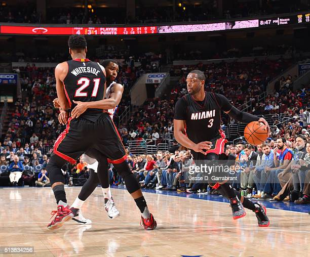 Dwyane Wade of the Miami Heat drives to the basket against the Philadelphia 76ers at Wells Fargo Center on March 4 2016 in Philadelphia Pennsylvania...