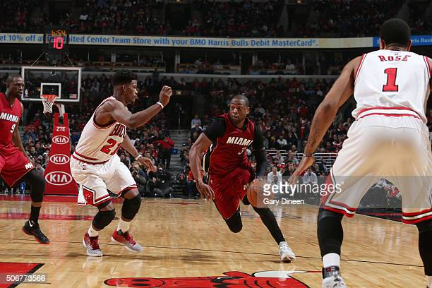 Dwyane Wade of the Miami Heat drives to the basket against the Chicago Bulls during the game on January 26 2016 at United Center in Chicago Illinois...