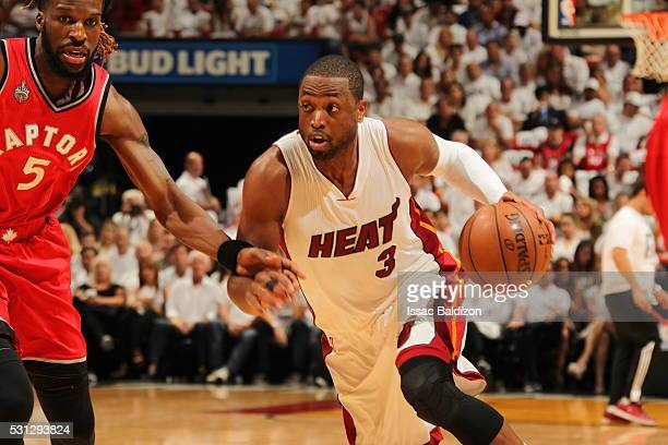 Dwyane Wade of the Miami Heat drives to the basket against the Toronto Raptors in Game Six of the Eastern Conference Semifinals during the 2016 NBA...