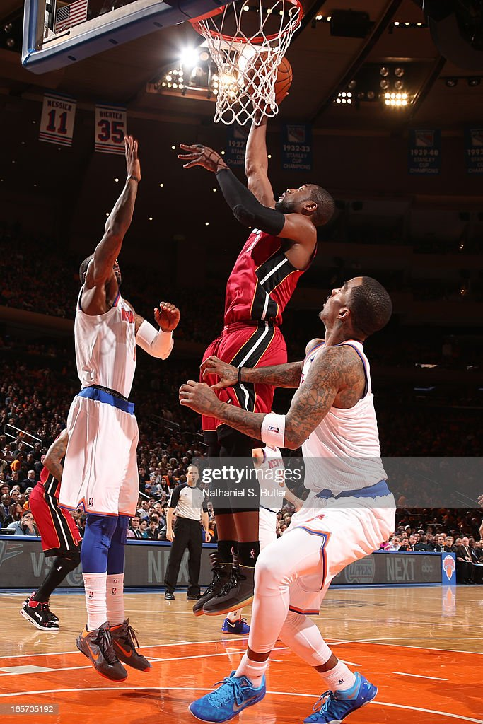 Dwyane Wade #3 of the Miami Heat drives to the basket against the New York Knicks on March 3, 2013 at Madison Square Garden in New York City.