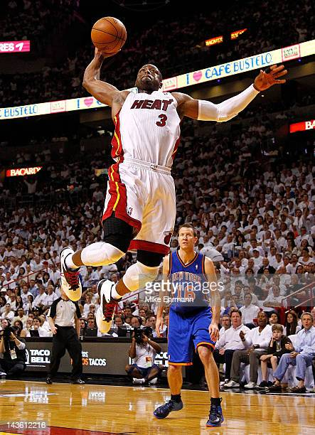 Dwyane Wade of the Miami Heat drives to the basket during Game Two of the Eastern Conference Quarterfinals in the 2012 NBA Playoffs against the New...