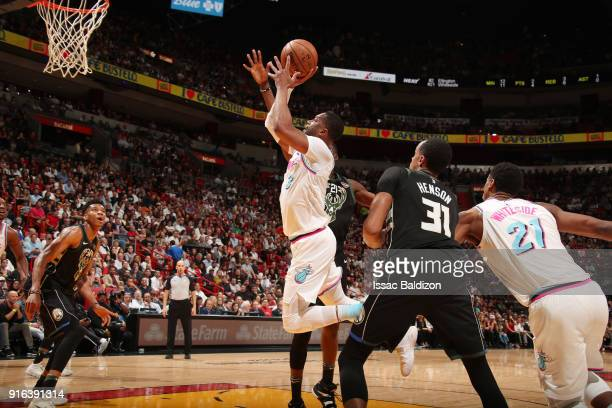 Dwyane Wade of the Miami Heat drives to the basket during the game against the Milwaukee Bucks on February 9 2018 at American Airlines Arena in Miami...