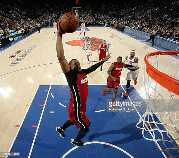 Dwyane Wade of the Miami Heat dunks against the New York Knicks on February 28 2016 at Madison Square Garden in New York City New York NOTE TO USER...