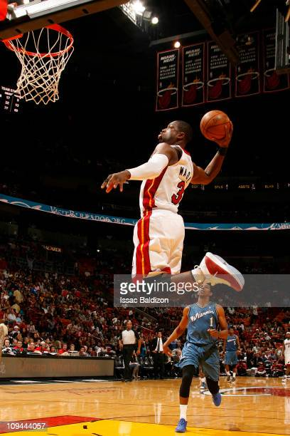 Dwyane Wade of the Miami Heat dunks against the Washington Wizards on February 25, 2011 at American Airlines Arena in Miami, Florida. NOTE TO USER:...