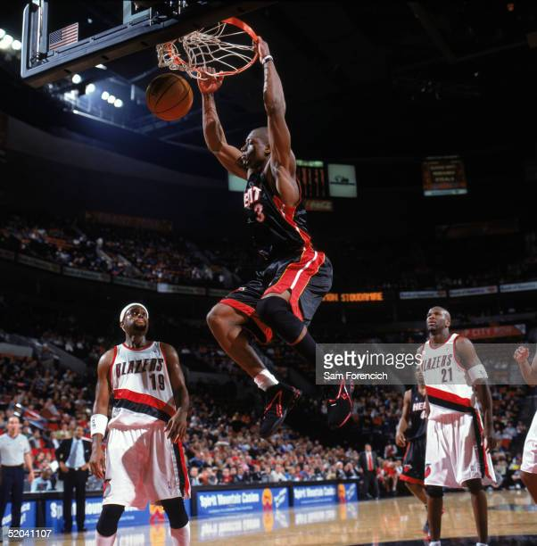 Dwyane Wade of the Miami Heat dunks during a game against the Portland Trail Blazers at The Rose Garden on January 7 2005 in Portland Oregon The Heat...