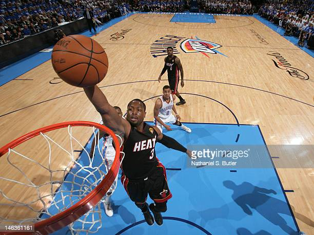 Dwyane Wade of the Miami Heat dunks during Game Two of the 2012 NBA Finals at Chesapeake Energy Arena on June 14, 2012 in Oklahoma City, Oklahoma....