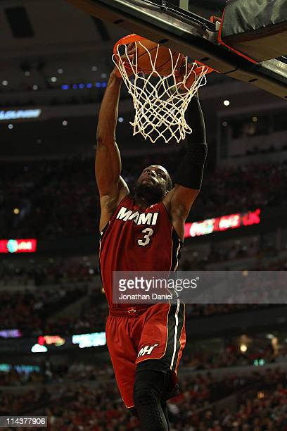 Dwyane Wade of the Miami Heat dunks in the second quarter against the Chicago Bulls in Game Two of the Eastern Conference Finals during the 2011 NBA...