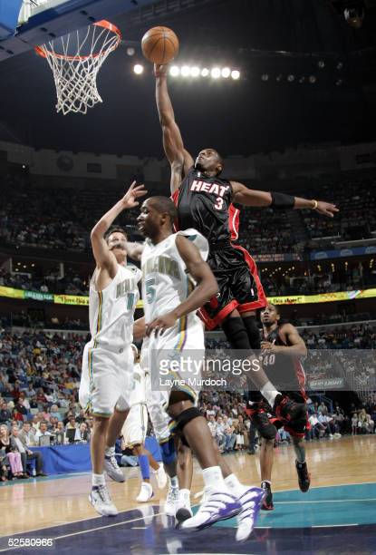 Dwyane Wade of the Miami Heat dunks over Speedy Claxton of the New Orleans Hornets on April 2 2005 at the New Orleans Arena in New Orleans Louisiana...