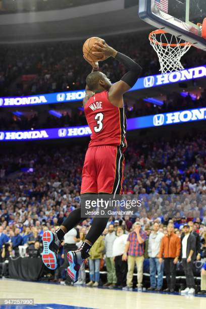 Dwyane Wade of the Miami Heat dunks the ball against the Philadelphia 76ers in Game Two of Round One of the 2018 NBA Playoffs on April 16 2018 in...
