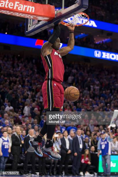Dwyane Wade of the Miami Heat dunks the ball in the fourth quarter against the Philadelphia 76ers during Game Two of the first round of the 2018 NBA...