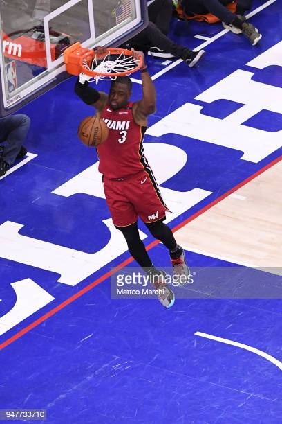 Dwyane Wade of the Miami Heat dunks the ball in the game against the Philadelphia 76ers during game two of round one of the 2018 NBA Playoffs on...