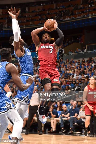 Dwyane Wade of the Miami Heat goes to the basket against the Orlando Magic on October 17 2018 at Amway Center in Orlando Florida NOTE TO USER User...