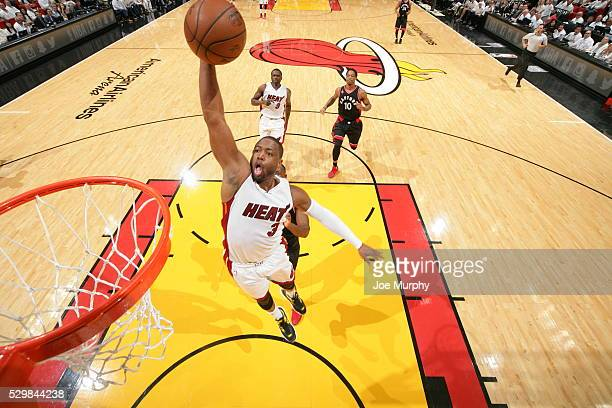 Dwyane Wade of the Miami Heat goes up for a dunk against the Toronto Raptors in Game Four of the Eastern Conference Semifinals during the 2016 NBA...