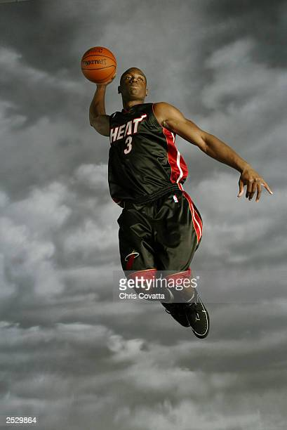 Dwyane Wade of the Miami Heat goes up for a shot during the 2003 NBA Rookie shoot at the MSG Training Facility on August 7, 2003 in Tarrytown, New...