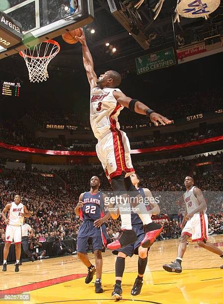 Dwyane Wade of the Miami Heat goes up for two points in Game Four of the Eastern Conference Quarterfinals during the 2009 NBA Playoffs at the...