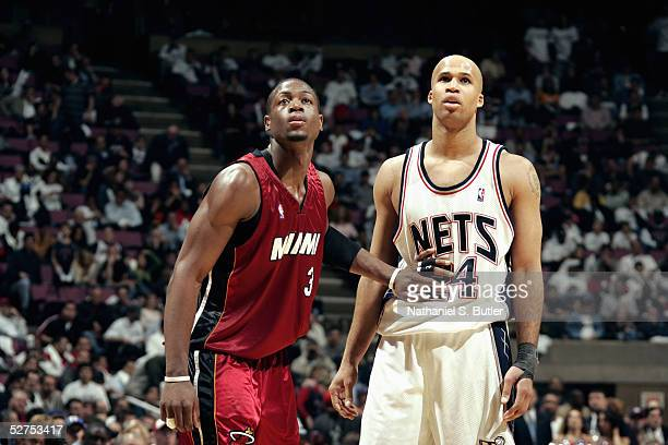 Dwyane Wade of the Miami Heat guards Richard Jefferson of the New Jersey Nets in Game three of the Eastern Conference Quarterfinals during the 2005...