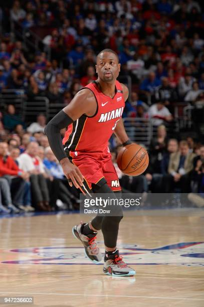 Dwyane Wade of the Miami Heat handles the ball against the Philadelphia 76ers in Game Two of Round One of the 2018 NBA Playoffs on April 16 2018 at...