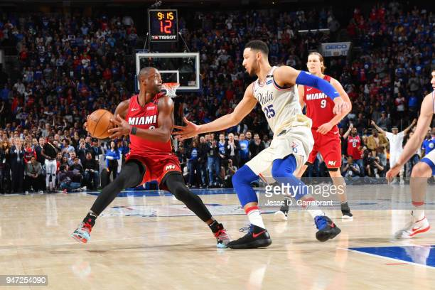 Dwyane Wade of the Miami Heat handles the ball against the Philadelphia 76ers in Game Two of Round One of the 2018 NBA Playoffs on April 16 2018 in...