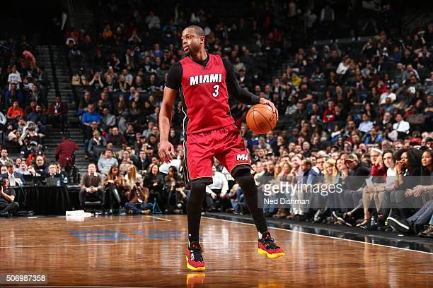Dwyane Wade of the Miami Heat handles the ball against the Brooklyn Nets on January 26 2016 at Barclays Center in the Brooklyn borough of New York...
