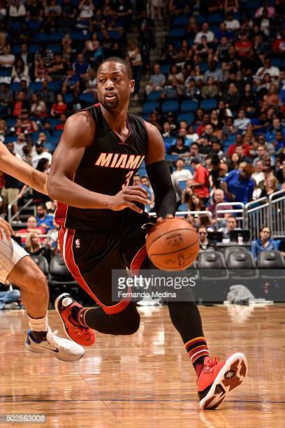 Dwyane Wade of the Miami Heat handles the ball against the Orlando Magic on December 26 2015 at the Amway Center in Orlando Florida NOTE TO USER User...