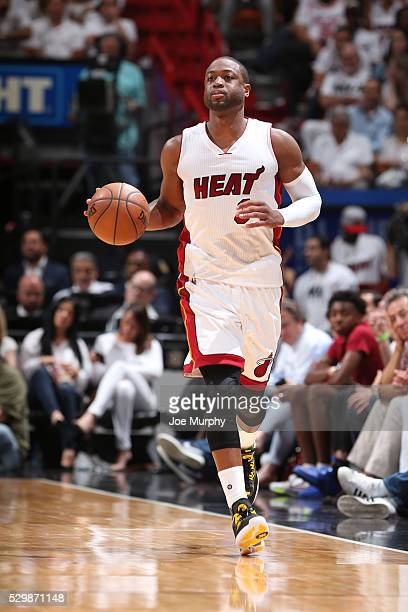 Dwyane Wade of the Miami Heat handles the ball against the Toronto Raptors in Game Four of the Eastern Conference Semifinals during the 2016 NBA...
