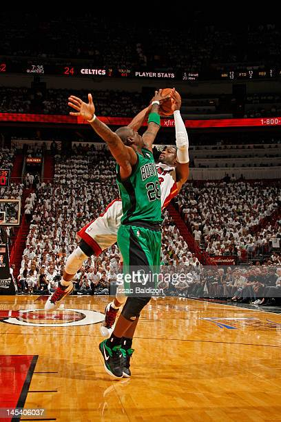 Dwyane Wade of the Miami Heat has his shot blocked by Mickael Pietrus of the Boston Celtics in Game One of the Eastern Conference Finals during the...