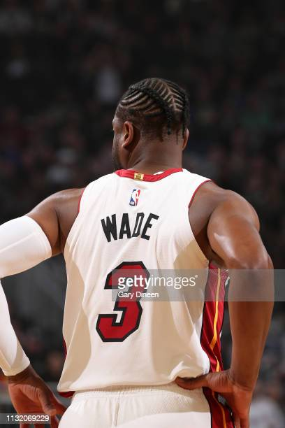 Dwyane Wade of the Miami Heat looks on against the Milwaukee Bucks on March 22 2019 at the Fiserv Forum in Milwaukee Wisconsin NOTE TO USER User...