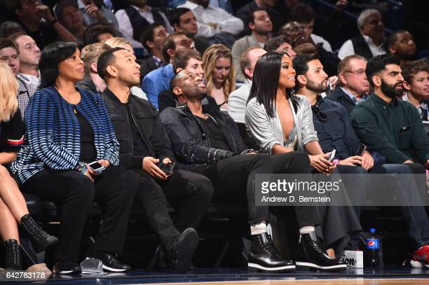 Dwyane Wade of the Miami Heat looks on during the Verizon Slam Dunk Contest during State Farm AllStar Saturday Night as part of the 2017 NBA AllStar...