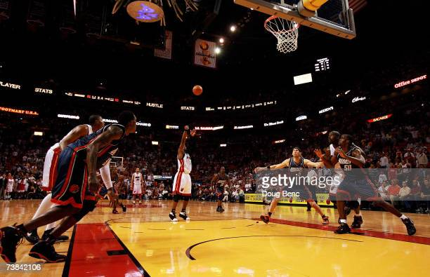 Dwyane Wade of the Miami Heat makes a gametying freethrow with less than 25 seconds to play in the fourth quarter against the Charlotte Bobcats at...
